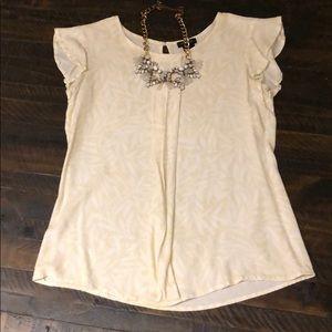 Ann Taylor neutral ruffle blouse
